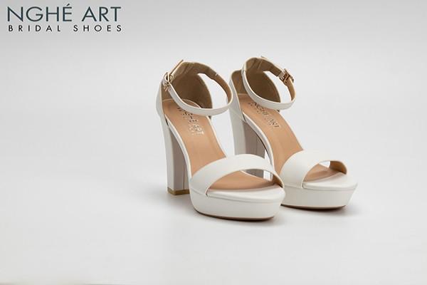 Giày cưới Nghé Art basic cao gót quai ngang mũi đúp 323 - Trắng