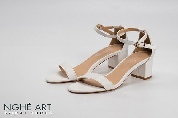 Giày cưới Nghé Art basic quai ngang sandal 195 - Trắng - 5 phân