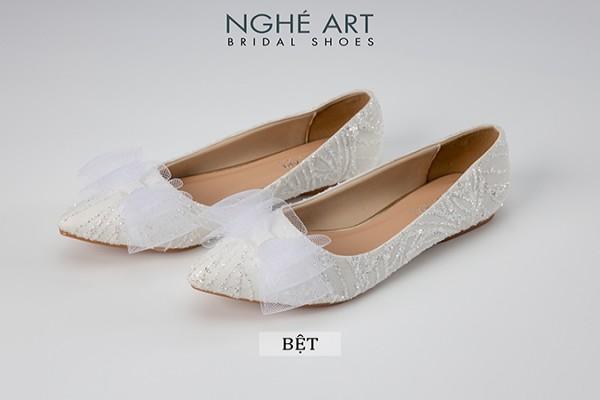 Giày cưới Nghé Art bệt kim tuyến nơ 220 - Bệt
