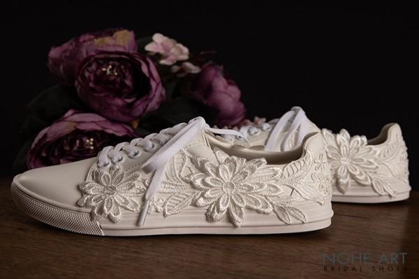 Giày cưới Nghé Art bata ren 349 - Trắng