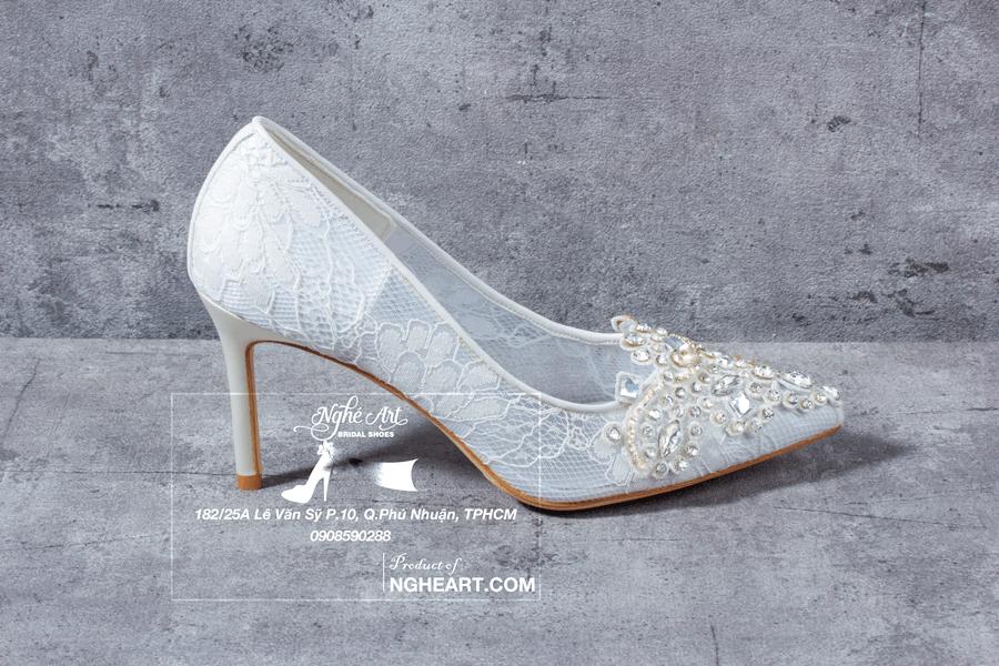 Giày cưới ren đính đá 173 - Ảnh 2 - Nghé Art Bridal Shoes – 0908590288