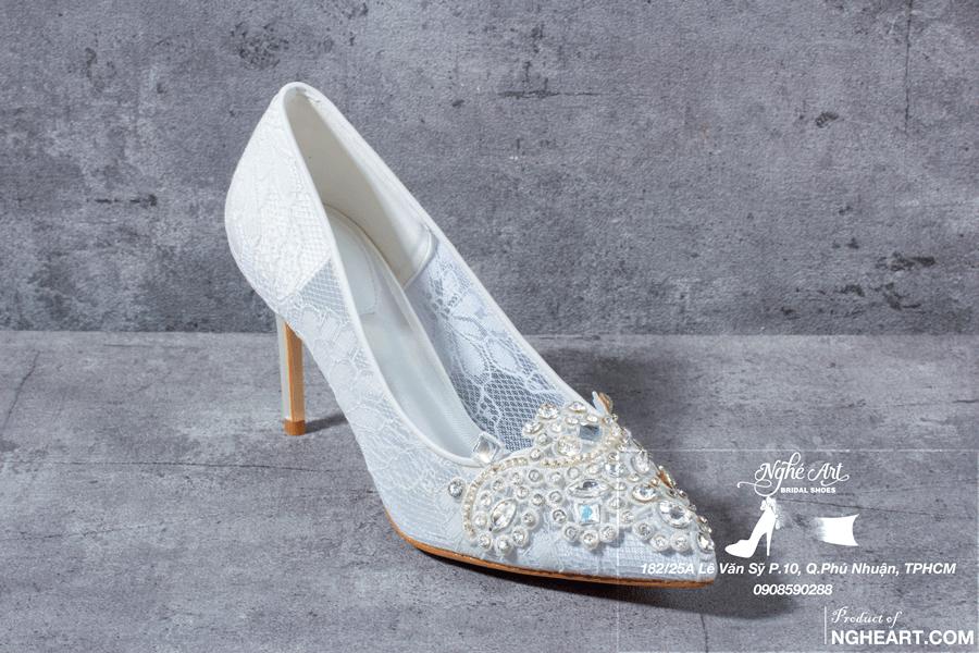 Giày cưới ren đính đá 173 - Ảnh 3 - Nghé Art Bridal Shoes – 0908590288