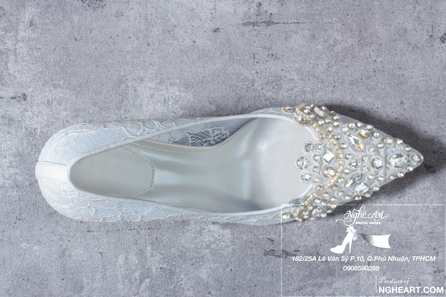 Giày cưới ren đính đá 173 - Ảnh 4 - Nghé Art Bridal Shoes – 0908590288