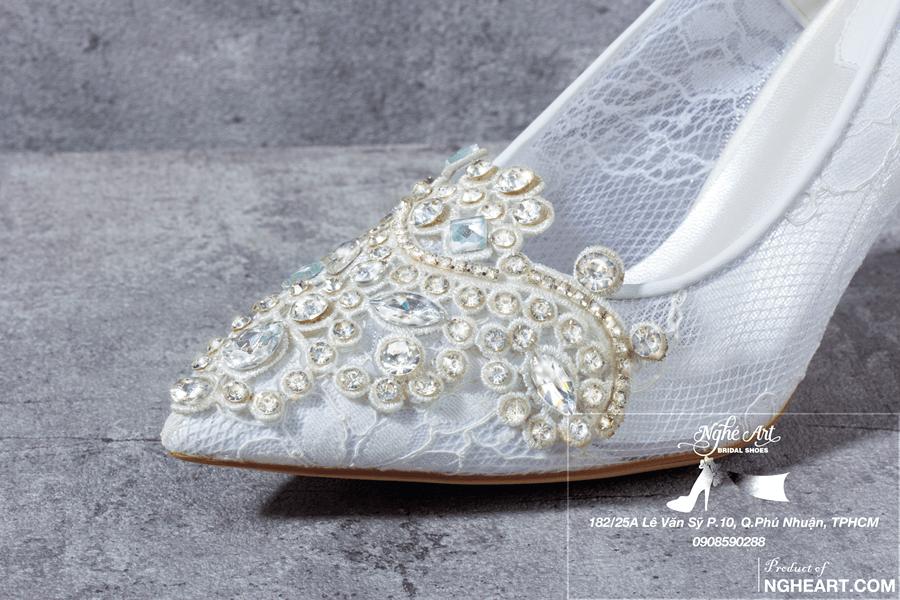 Giày cưới ren đính đá 173 - Ảnh 5 - Nghé Art Bridal Shoes – 0908590288