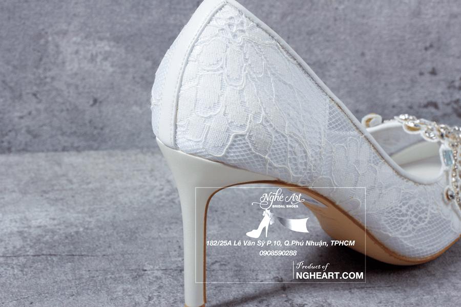 Giày cưới ren đính đá 173 - Ảnh 6 - Nghé Art Bridal Shoes – 0908590288