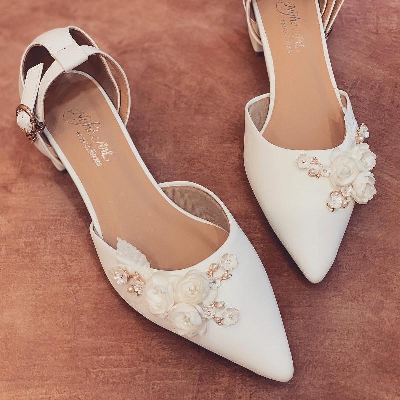 Giày cưới Nghé Art sandal gót vuong 3 phân 228 - Ảnh 1 -  Nghé Art Bridal Shoes – 0908590288