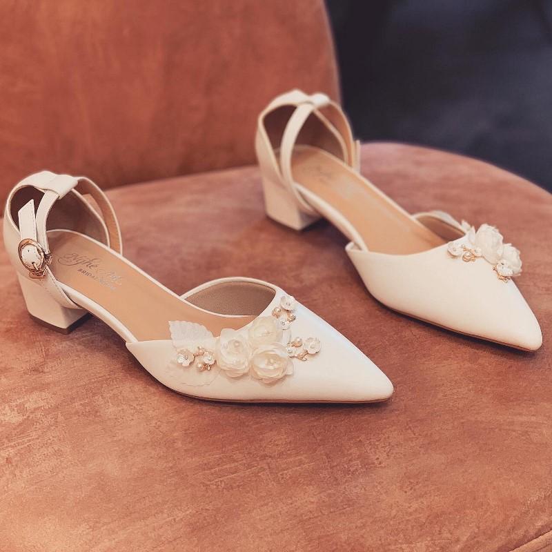 Giày cưới Nghé Art sandal gót vuong 3 phân 228 - Ảnh 3 -  Nghé Art Bridal Shoes – 0908590288