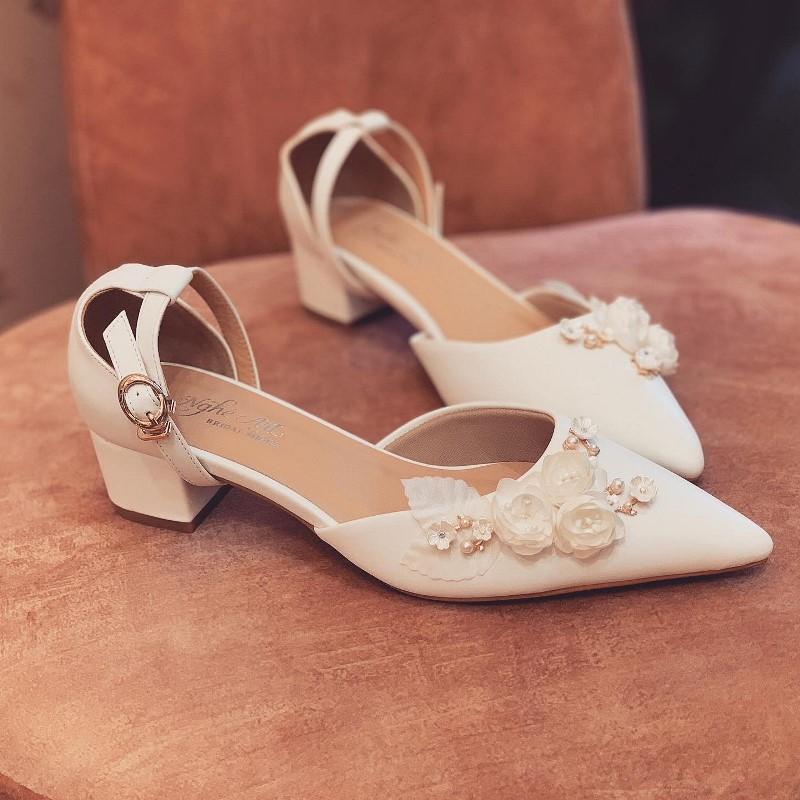 Giày cưới Nghé Art sandal gót vuong 3 phân 228 - Ảnh 4 -  Nghé Art Bridal Shoes – 0908590288