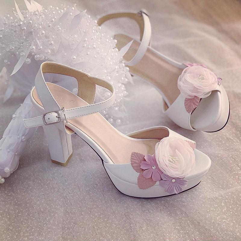 Giày cưới Nghé Art cao gót hoa vintage 238 - Ảnh 2 -  Nghé Art Bridal Shoes – 0908590288