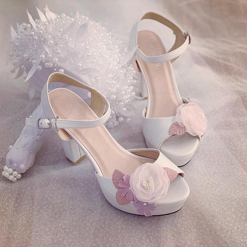 Giày cưới Nghé Art cao gót hoa vintage 238 - Ảnh 3 -  Nghé Art Bridal Shoes – 0908590288