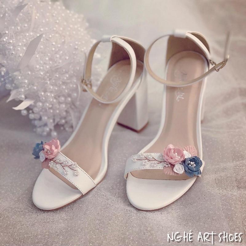 Giày cưới sandal hoa hồng xanh vintage 240 - Ảnh 2 -  Nghé Art Bridal Shoes – 0908590288