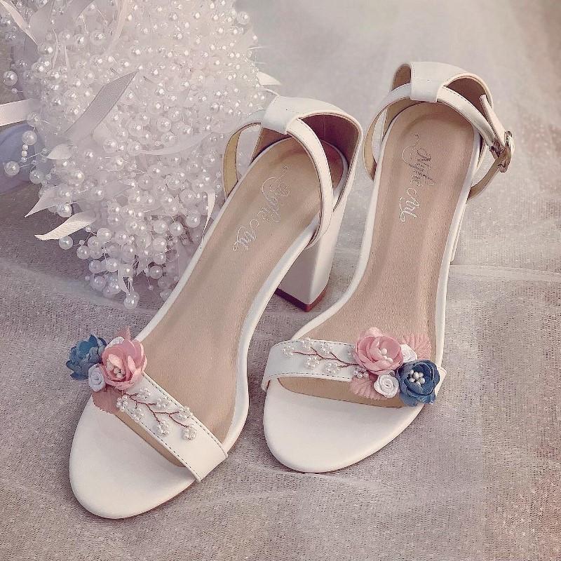 Giày cưới sandal hoa hồng xanh vintage 240 - Ảnh 3 -  Nghé Art Bridal Shoes – 0908590288