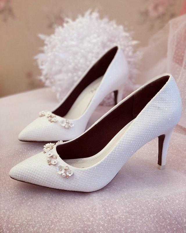 Giày cưới Nghé Art cao gót bọc ren lưới kim tuyến nhũ 7 màu 244 - Ảnh 1 -  Nghé Art Bridal Shoes – 0908590288