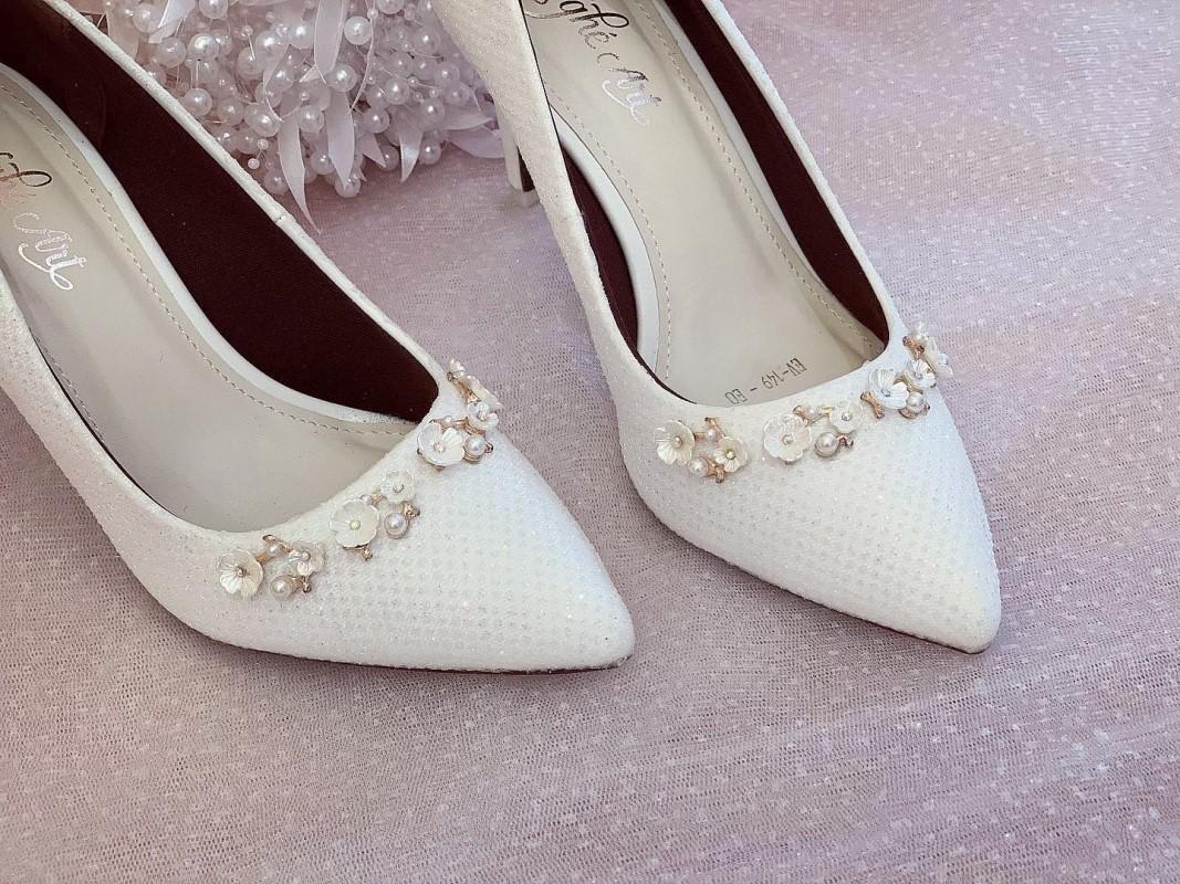 Giày cưới Nghé Art cao gót bọc ren lưới kim tuyến nhũ 7 màu 244 - Ảnh 2 -  Nghé Art Bridal Shoes – 0908590288