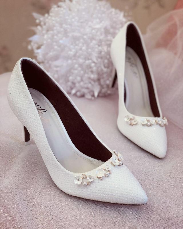 Giày cưới Nghé Art cao gót bọc ren lưới kim tuyến nhũ 7 màu 244 - Ảnh 3 -  Nghé Art Bridal Shoes – 0908590288