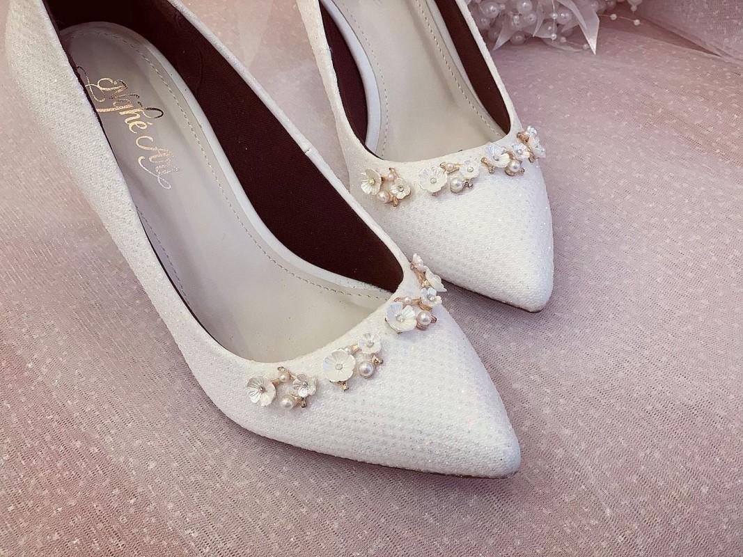 Giày cưới Nghé Art cao gót bọc ren lưới kim tuyến nhũ 7 màu 244 - Ảnh 4 -  Nghé Art Bridal Shoes – 0908590288
