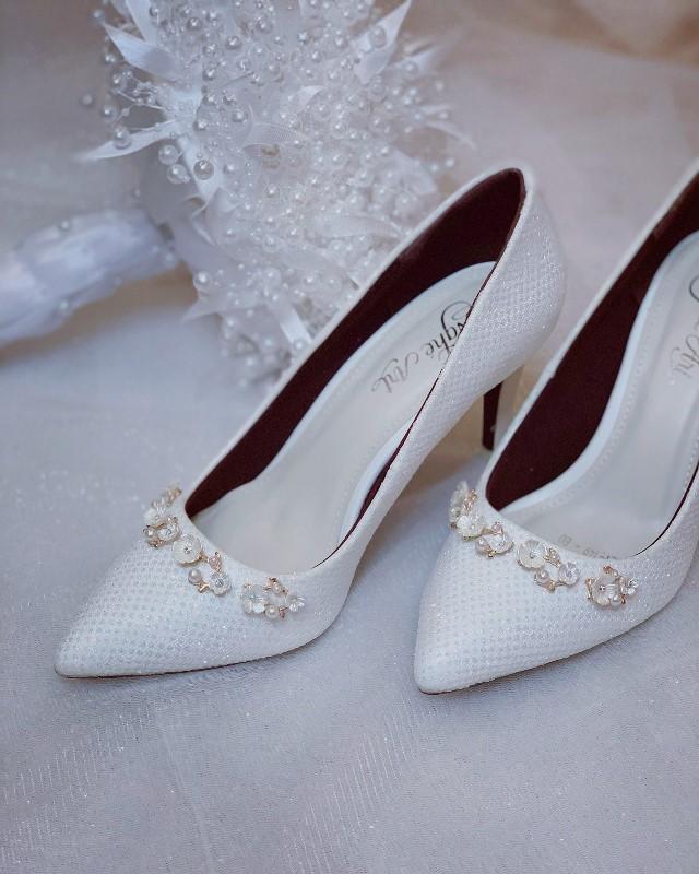 Giày cưới Nghé Art cao gót bọc ren lưới kim tuyến nhũ 7 màu 244 - Ảnh 5 -  Nghé Art Bridal Shoes – 0908590288