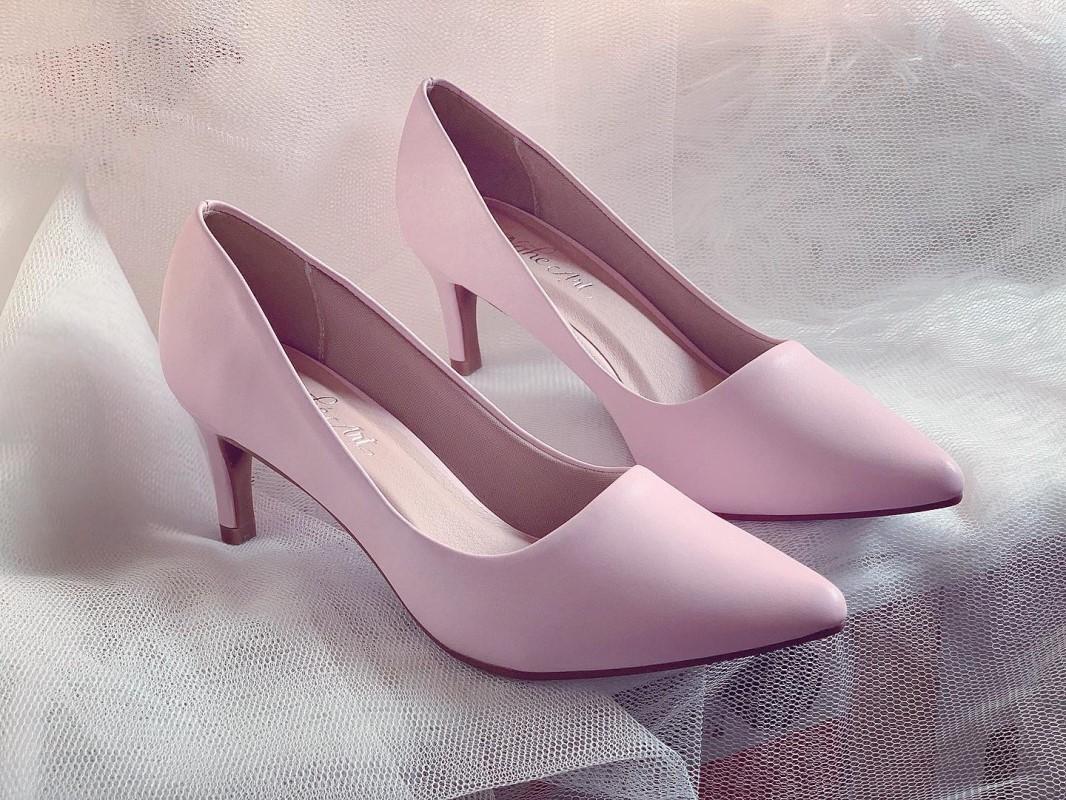 Giày cưới Nghé Art basic cao gót bít mũi màu hồng 247 - Ảnh 2 -  Nghé Art Bridal Shoes – 0908590288