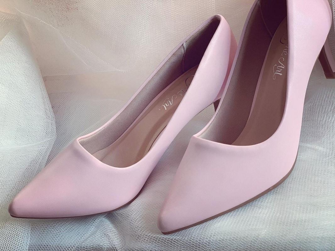 Giày cưới Nghé Art basic cao gót bít mũi màu hồng 247 - Ảnh 3 -  Nghé Art Bridal Shoes – 0908590288
