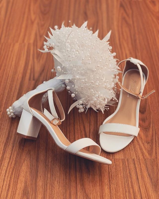 Giày cưới Nghé Art basic quai sandal trắng 252 - Ảnh 2 -  Nghé Art Bridal Shoes – 0908590288