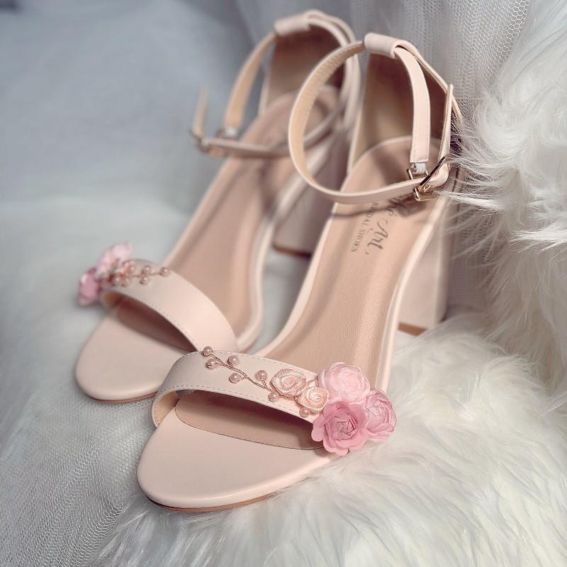Giày cưới sandal nude hoa hồng ngọc trai 253 - Ảnh 2 -  Nghé Art Bridal Shoes – 0908590288