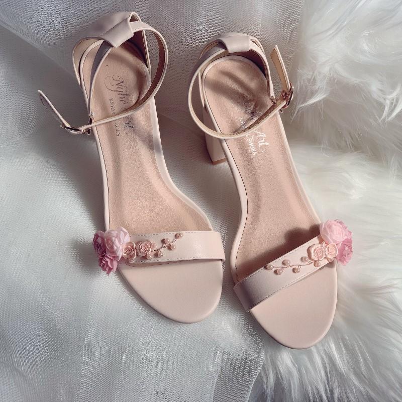Giày cưới sandal nude hoa hồng ngọc trai 253 - Ảnh 3 -  Nghé Art Bridal Shoes – 0908590288