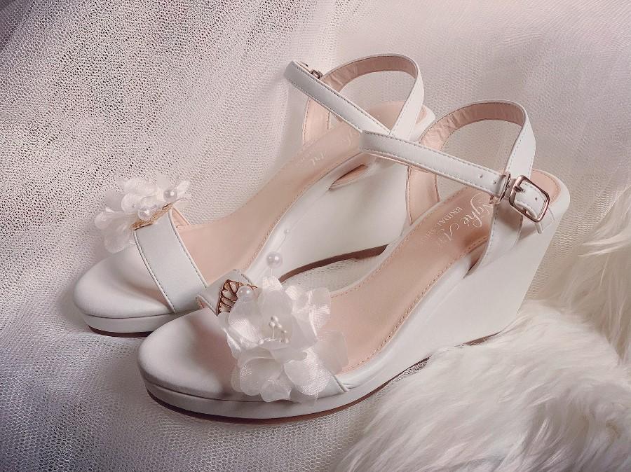 Giày cưới Nghé Art đế xuồng trắng 254 - Ảnh 1 -  Nghé Art Bridal Shoes – 0908590288