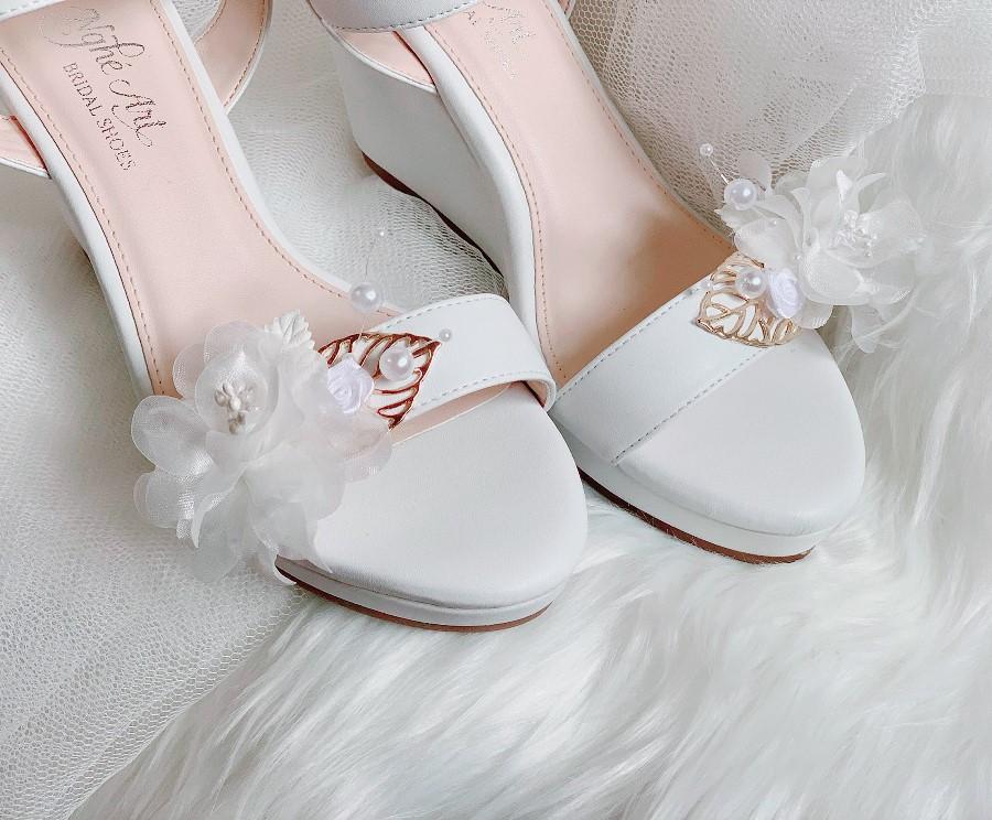 Giày cưới Nghé Art đế xuồng trắng 254 - Ảnh 2 -  Nghé Art Bridal Shoes – 0908590288