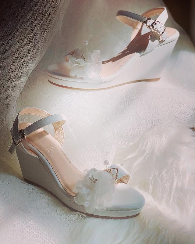 Giày cưới Nghé Art đế xuồng trắng 254 - Ảnh 4 -  Nghé Art Bridal Shoes – 0908590288