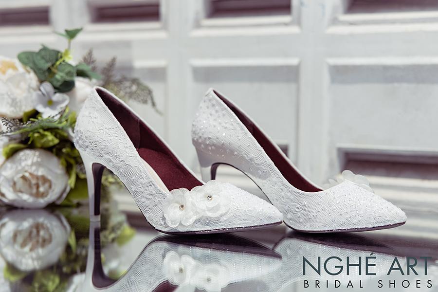 Giày cưới Nghé Art handmade kim tuyến đính hoa voan 266 - Ảnh 5 -  Nghé Art Bridal Shoes – 0908590288
