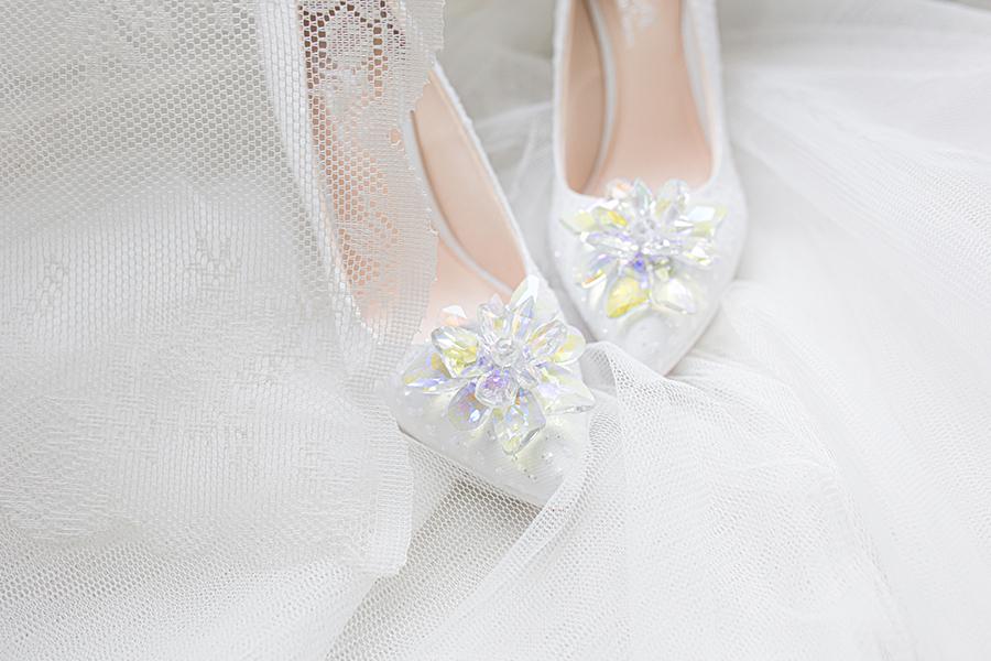 Giày cưới Nghé Art ren kim hoa đá 287 - Ảnh 2 -  Nghé Art Bridal Shoes – 0908590288