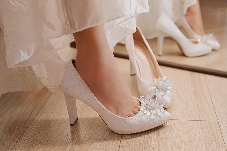 Giày cưới Nghé Art ren kim hoa đá 287 - Ảnh 6 -  Nghé Art Bridal Shoes – 0908590288