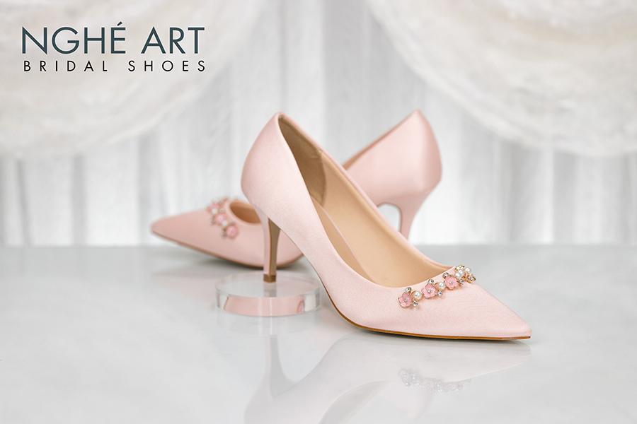 Giày cưới Nghé Art satin hồng nhánh kim loại 313 - Ảnh 1 - Nghé Art Bridal Shoes – 0908590288