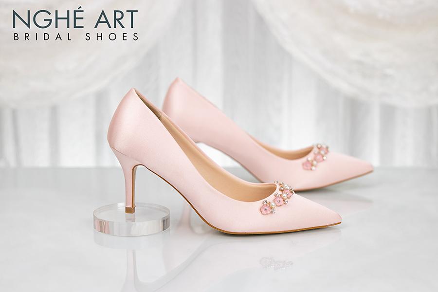 Giày cưới Nghé Art satin hồng nhánh kim loại 313 - Ảnh 3 - Nghé Art Bridal Shoes – 0908590288