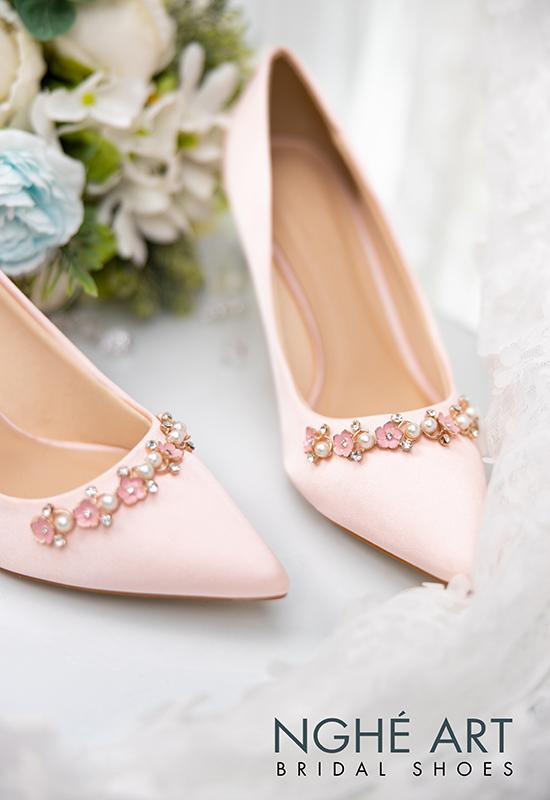 Giày cưới Nghé Art satin hồng nhánh kim loại 313 - Ảnh 4 - Nghé Art Bridal Shoes – 0908590288
