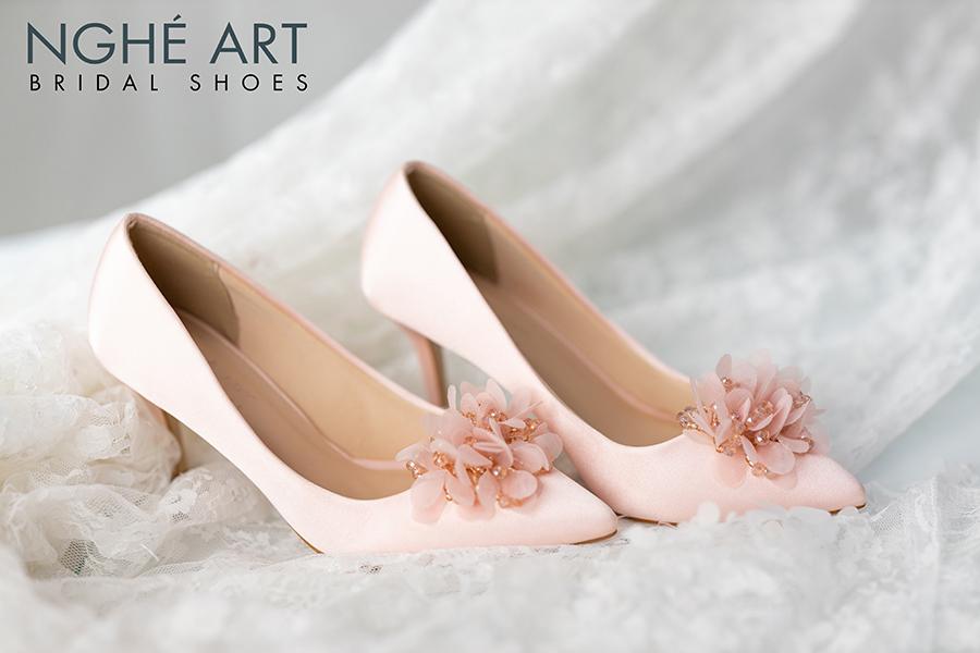 Giày cưới Nghé Art satin hồng hoa voan 314 - Ảnh 1 - Nghé Art Bridal Shoes – 0908590288