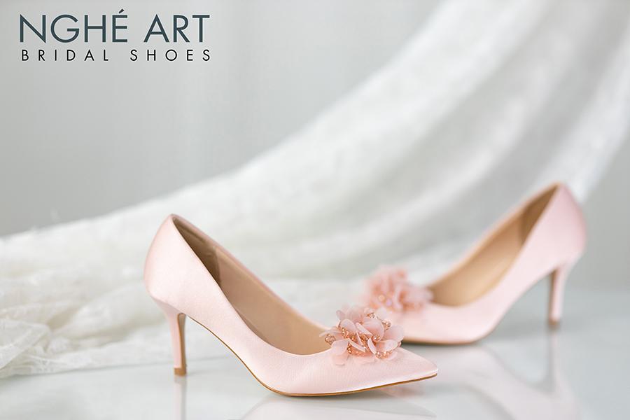 Giày cưới Nghé Art satin hồng hoa voan 314 - Ảnh 2 - Nghé Art Bridal Shoes – 0908590288