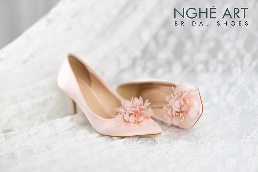 Giày cưới Nghé Art satin hồng hoa voan 314 - Ảnh 4 - Nghé Art Bridal Shoes – 0908590288