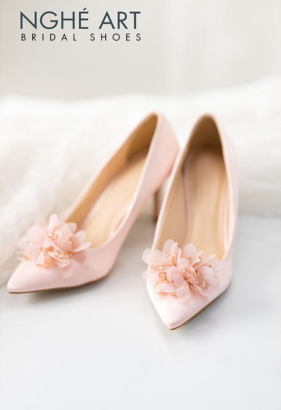 Giày cưới Nghé Art satin hồng hoa voan 314 - Ảnh 5 - Nghé Art Bridal Shoes – 0908590288
