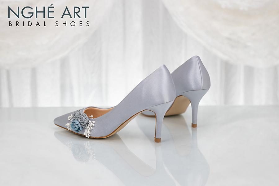 Giày cưới Nghé Art lụa satin hoa 316 - Ảnh 1 - Nghé Art Bridal Shoes – 0908590288