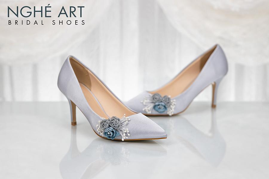 Giày cưới Nghé Art lụa satin hoa 316 - Ảnh 2 - Nghé Art Bridal Shoes – 0908590288