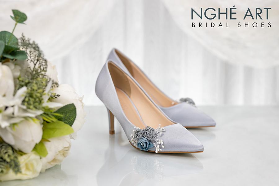 Giày cưới Nghé Art lụa satin hoa 316 - Ảnh 3 - Nghé Art Bridal Shoes – 0908590288