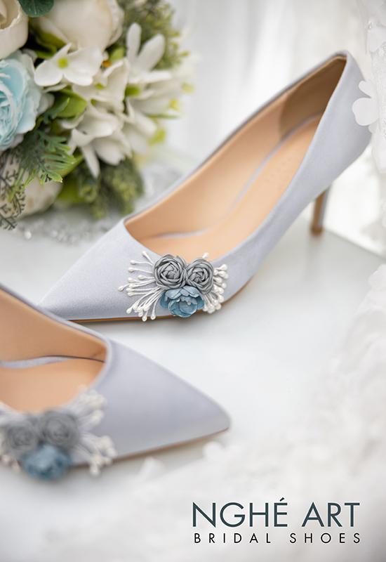 Giày cưới Nghé Art lụa satin hoa 316 - Ảnh 4 - Nghé Art Bridal Shoes – 0908590288