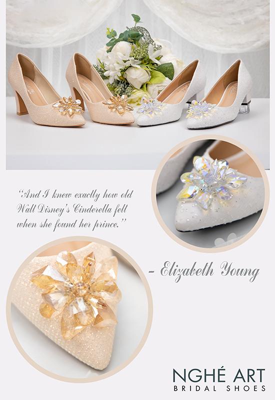 Giày cưới Nghé Art handmade ren kim tuyến nude hoa đá 321 - Ảnh 5 -  Nghé Art Bridal Shoes – 0908590288