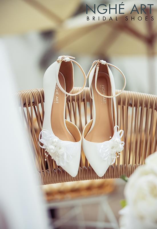 Giày cưới Nghé Art khoét eo đính nơ trắng 327 - Ảnh 3 -  Nghé Art Bridal Shoes – 0908590288