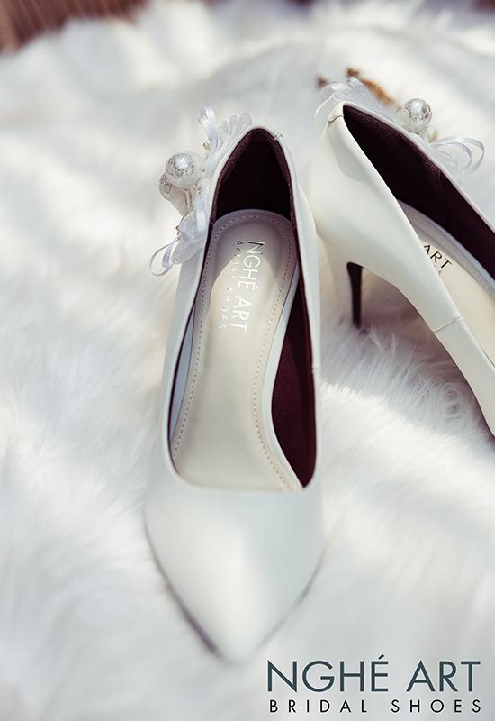 Giày cưới Nghé Art gót đính nơ màu trắng 328 - Ảnh 5 -  Nghé Art Bridal Shoes – 0908590288