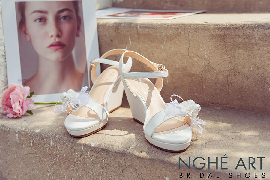 Giày cưới Nghé Art xuồng đính nơ trắng 329 - Ảnh 3 -  Nghé Art Bridal Shoes – 0908590288