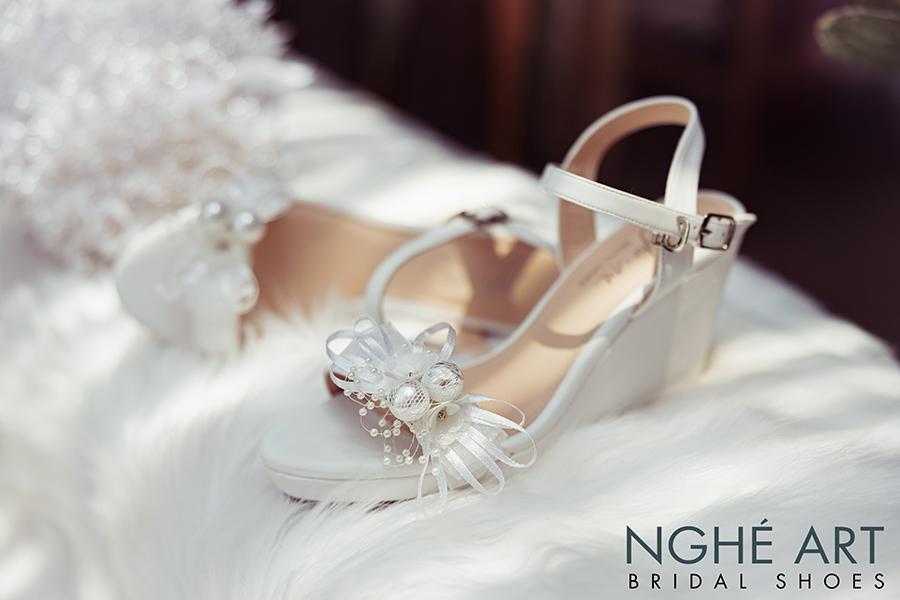 Giày cưới Nghé Art xuồng đính nơ trắng 329 - Ảnh 4 -  Nghé Art Bridal Shoes – 0908590288