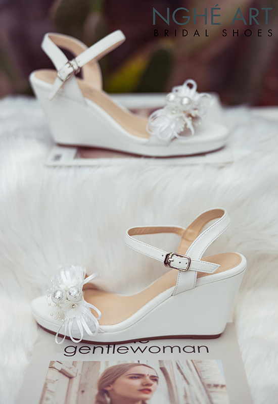 Giày cưới Nghé Art xuồng đính nơ trắng 329 - Ảnh 6 -  Nghé Art Bridal Shoes – 0908590288