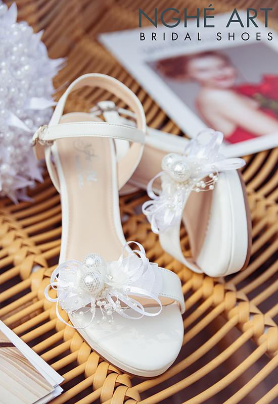 Giày cưới Nghé Art xuồng đính nơ trắng 329 - Ảnh 7 -  Nghé Art Bridal Shoes – 0908590288